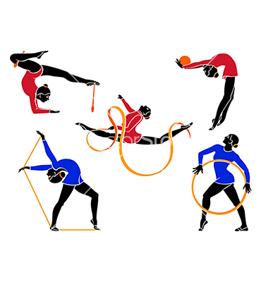 Rhytmic gymnasts with hoop, rope, ball, ribbon and clubs